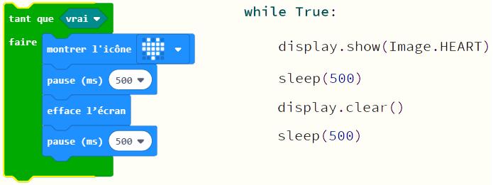 comparaison entre MakeCode et MicroPython