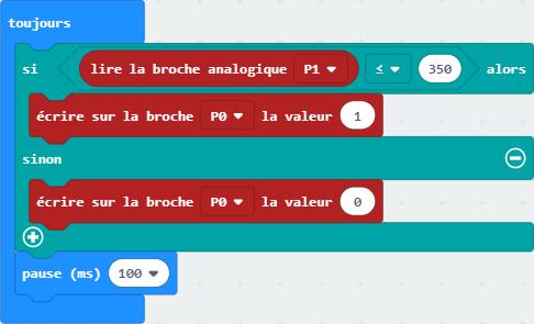 Code MakeCode pour programmer le capteur de luminosité