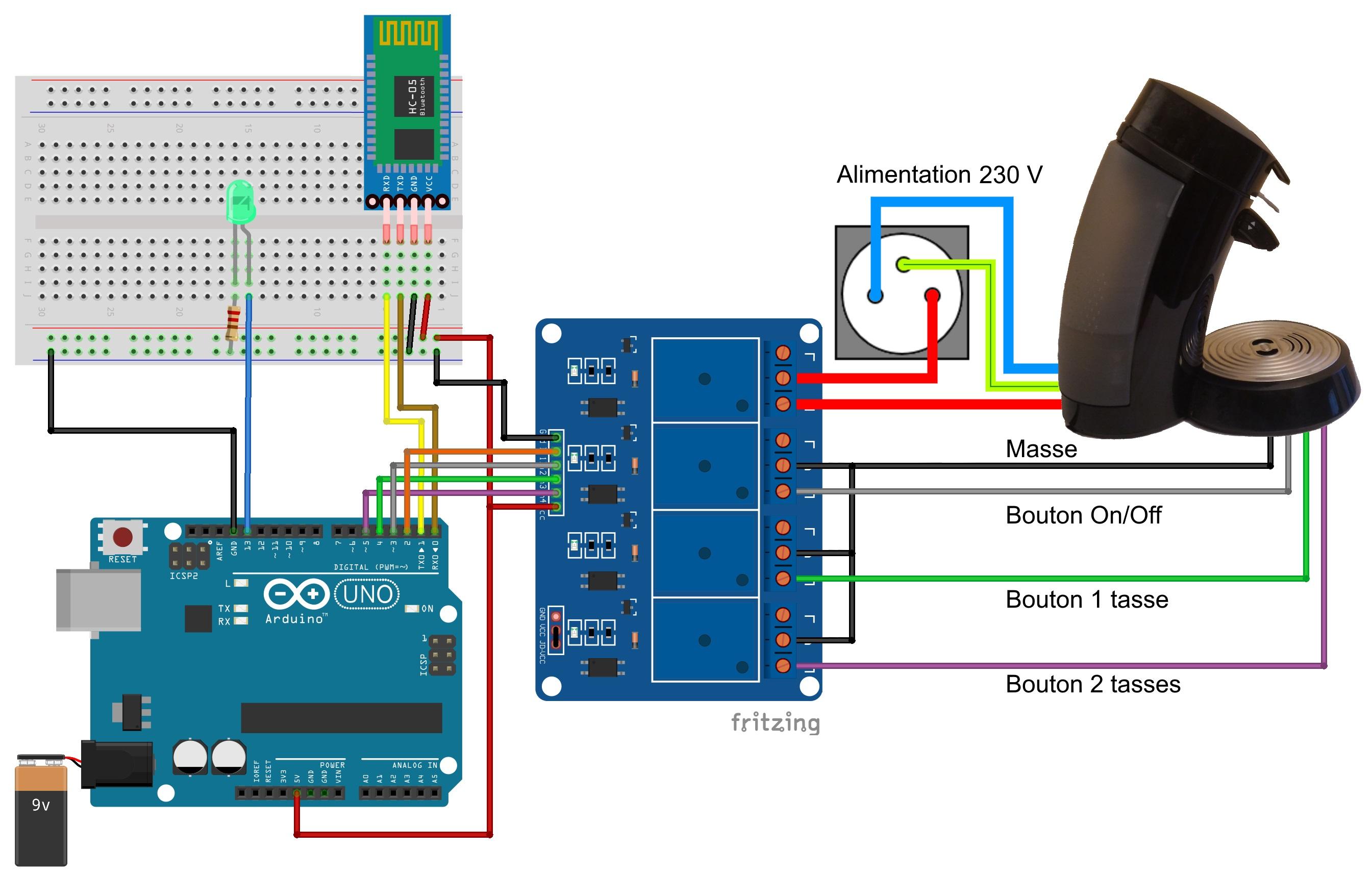 Schéma de branchement de la cafetière pilotée en Bluetooth.