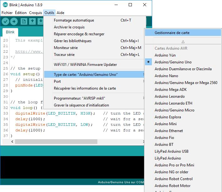 Installation d'une nouvelle carte dans l'IDE Arduino