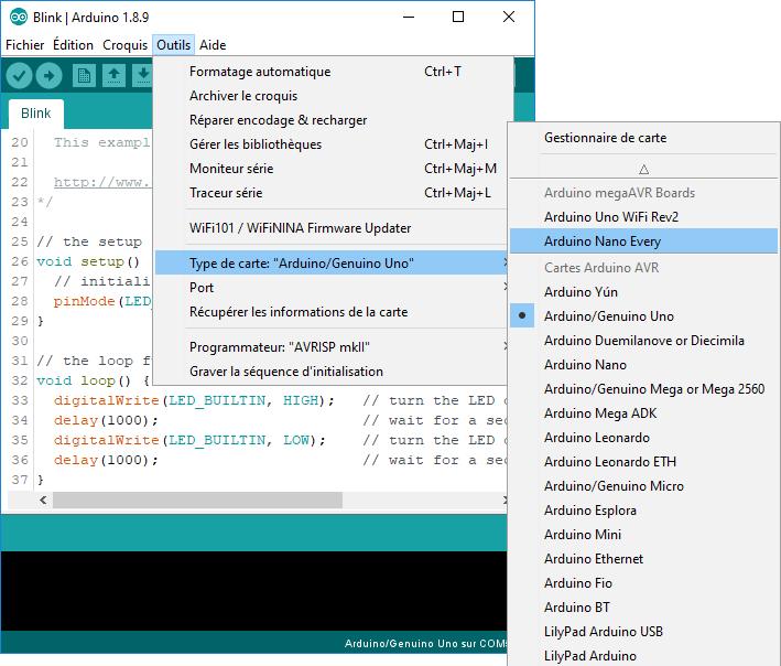 Sélectionner la nouvelle carte dans l'IDE Arduino