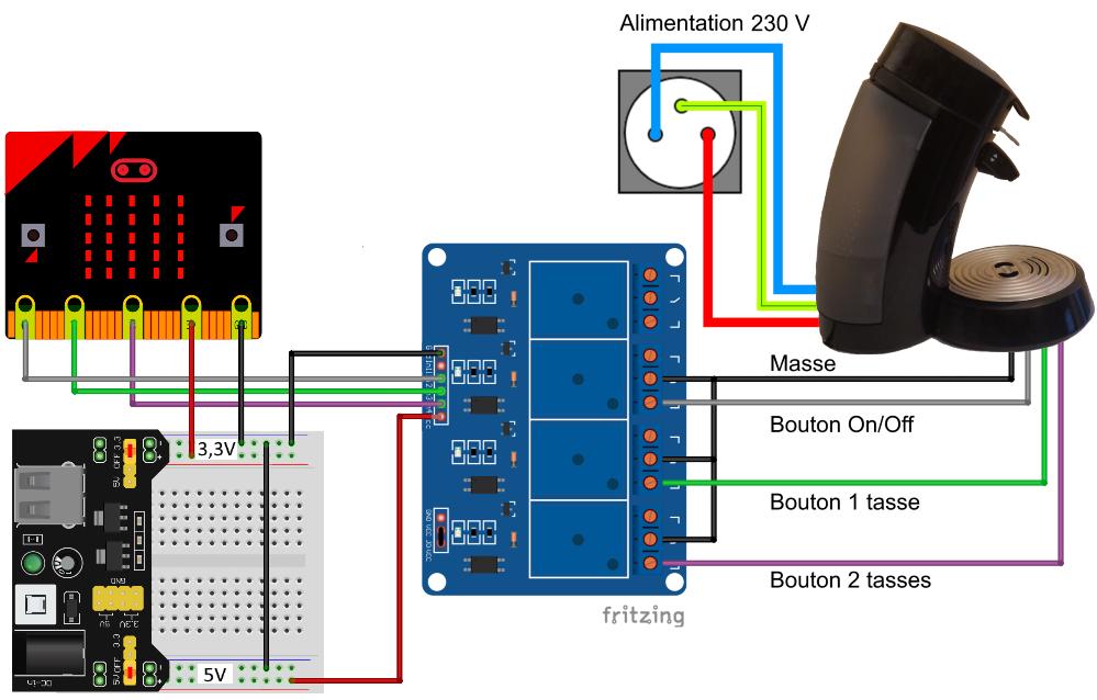 Schéma de branchement de la cafetière contrôlée par Microbit avec un module d'alimentation de breadboard.