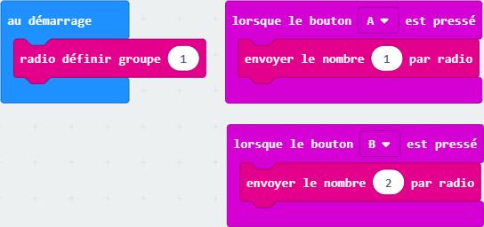 Code Makecode pour télécommander la cafetière (avec un MicroBit).