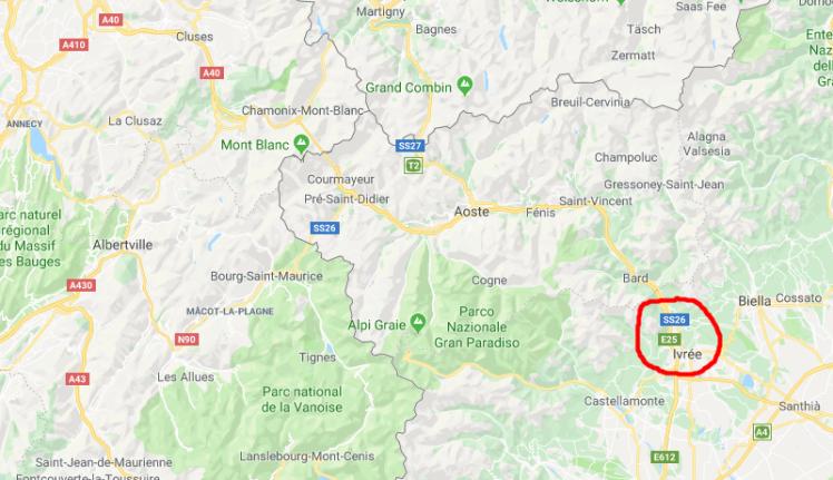 Carte routière de la région d'Ivrée (Ivrea)