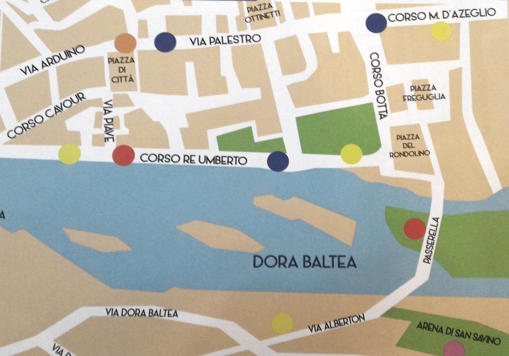 Carte touristique de la ville d'Ivrée
