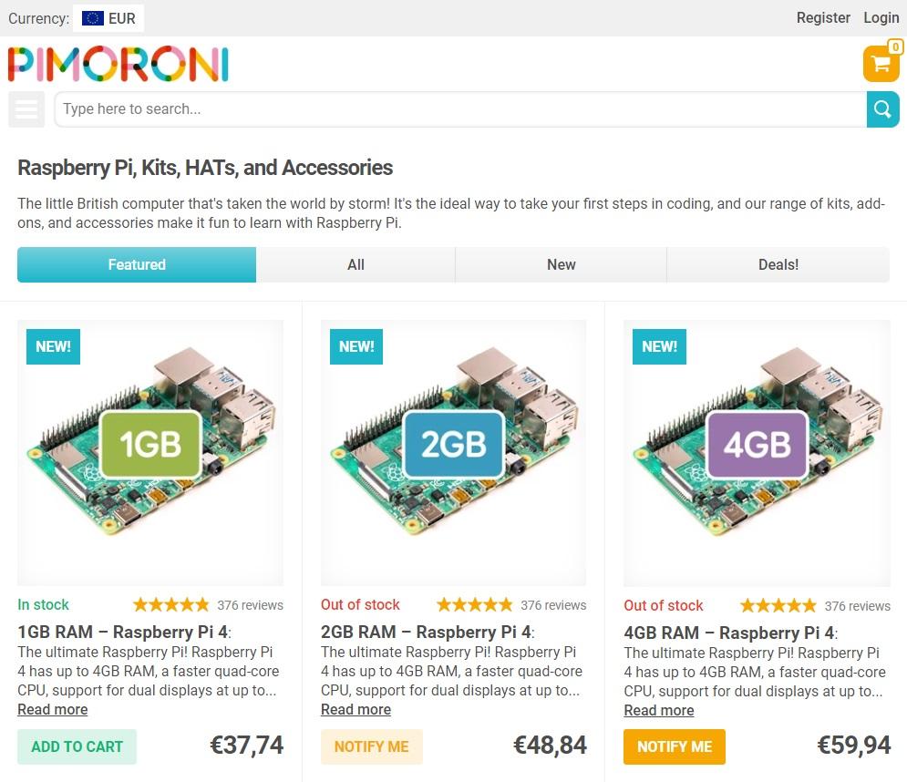 PIMORONI Vente de Raspberry Pi, Kits, HATs et Accessoires