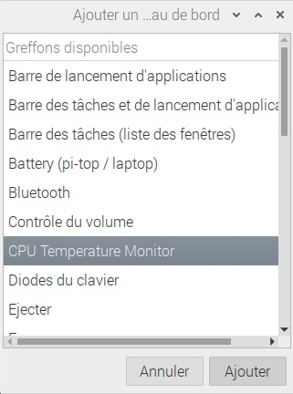 Ajout de CPU Temperature Monitor