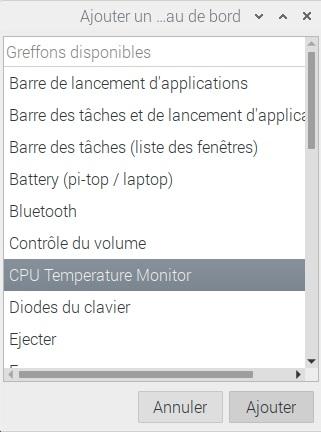 Ajout de CPU Temperature Monitor