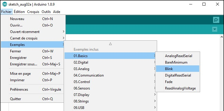 Chargement du programme de test Blink avec l'IDE Arduino.