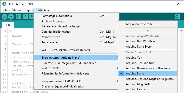 Sélection du type de carte : Arduino Nano avec l'IDE.