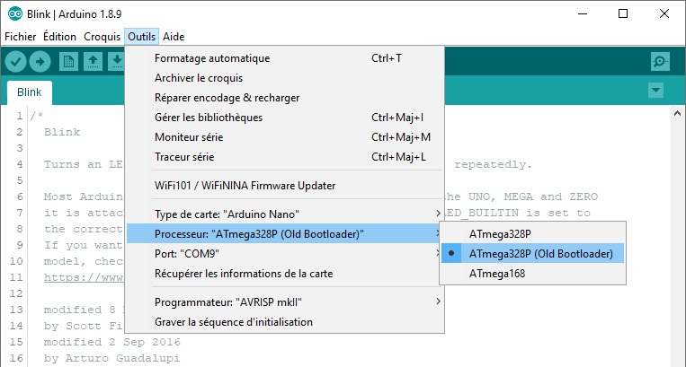 Sélection du processeur : ATmega328P (Old Bootloader), dans l'IDE Arduino.