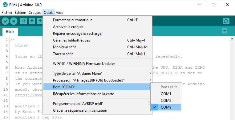 Sélection du port de communication dans l'IDE Arduino.