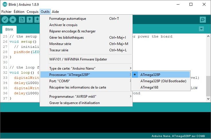 Sélection du processeur : ATmega328P (classique), dans l'IDE Arduino.