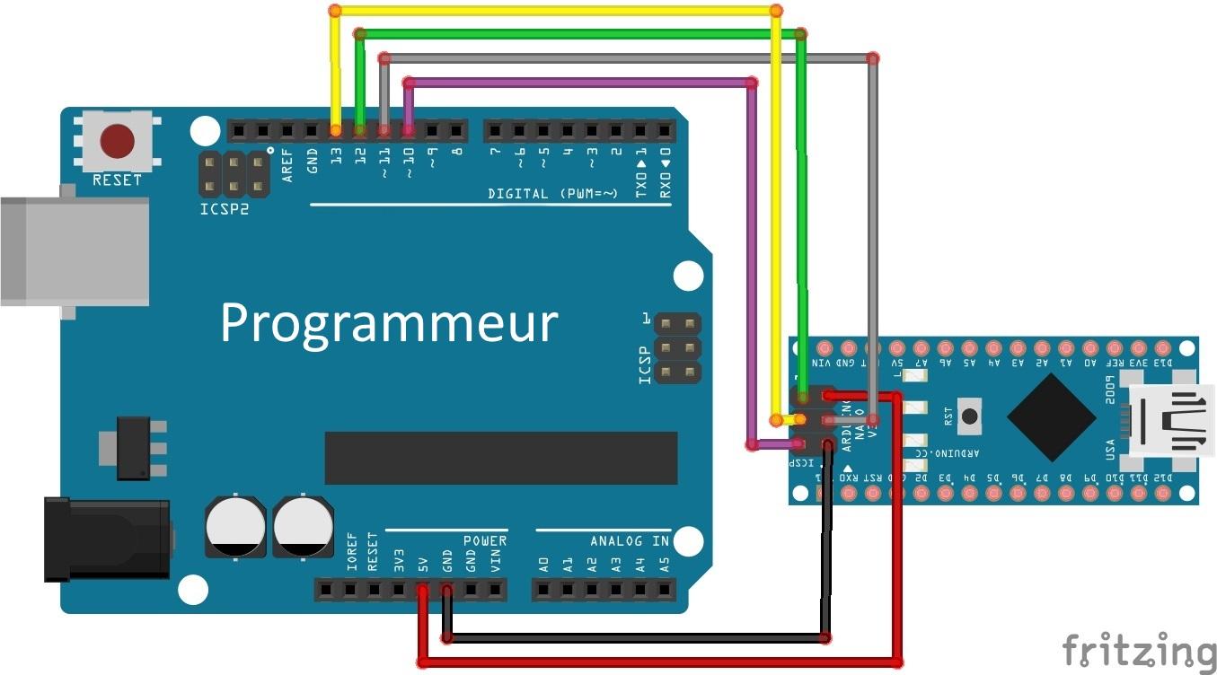 Branchement de L'Arduino en mode  programmateur.