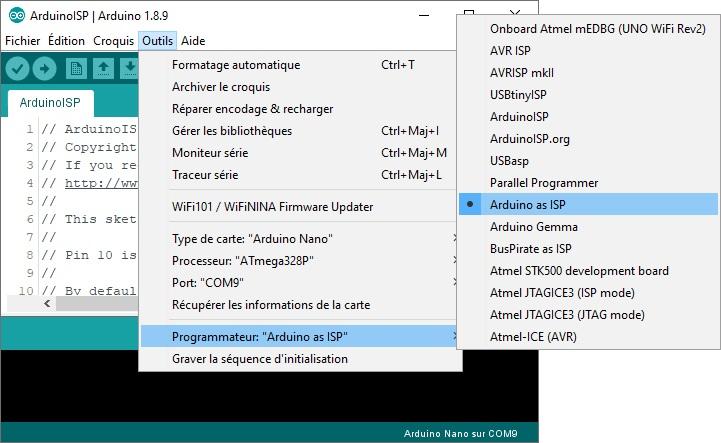 Réglage des paramètres de l'Arduino Nano avec la gravure du nouveau bootloader.