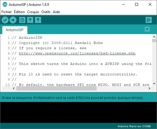 Gravure du bootloader est en cours.