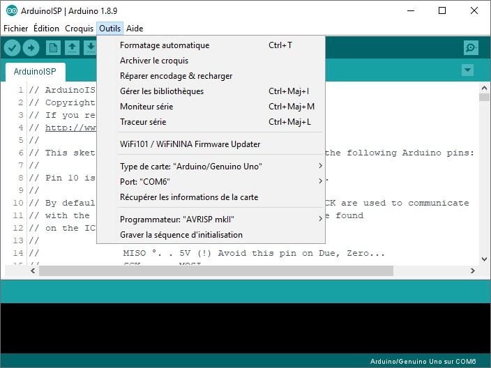 Paramètre de l'Arduino Uno dans le menu Outils de l'IDE.