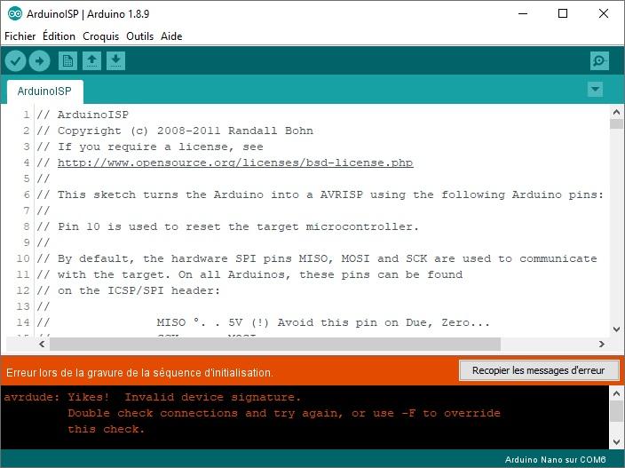 Message d'erreur au cours de la gravure du bootloader.