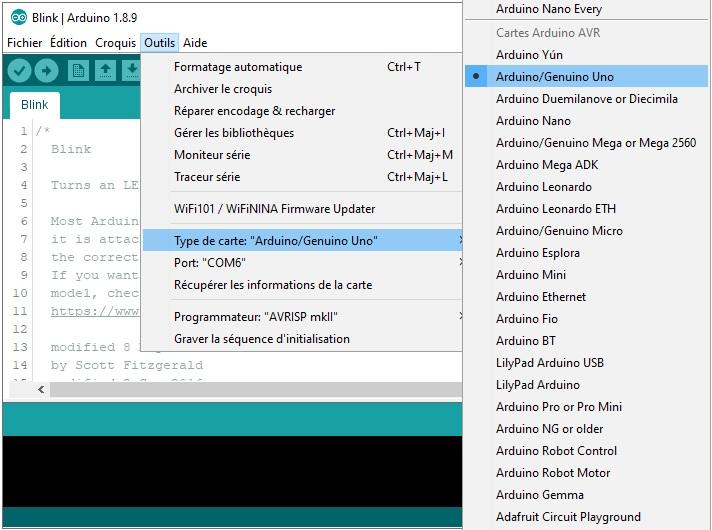 Sélection des paramètres de l'Arduino Uno.
