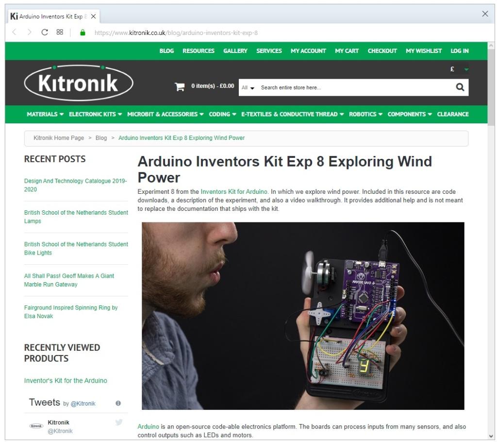 Site internet de la 8ème expérience, mesure de l'électricité produite en soufflant sur le ventilateur