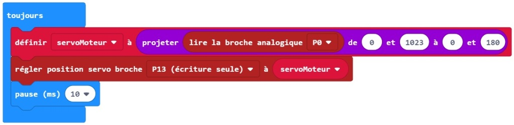 Programme MakeCode pour tester les servomoteurs