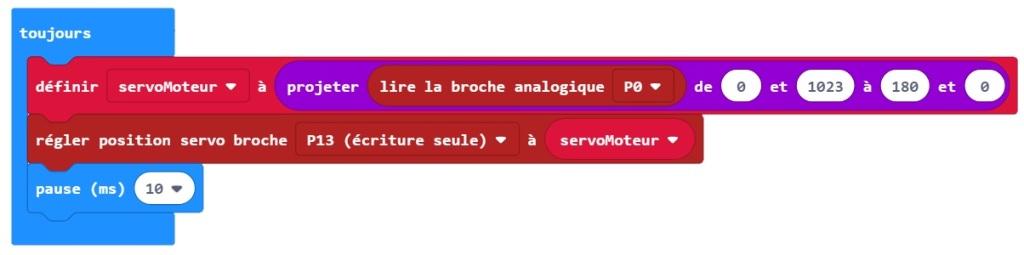 Amélioration du programme MakeCode de test des servomoteurs (inversion du sens de déplacement du moteur)