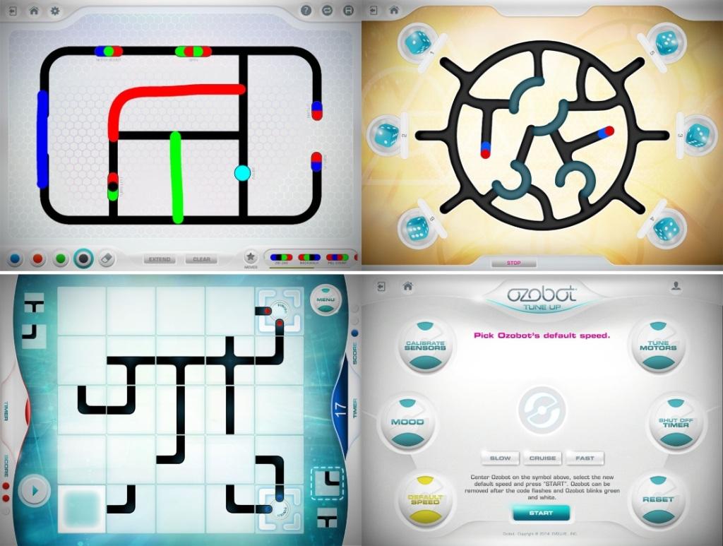 Exemples d'activités proposées par l'application Ozobot Bit