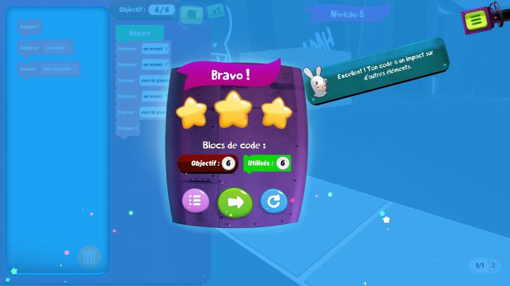 Niveau 8 réussi avec le jeu Rabbids Coding