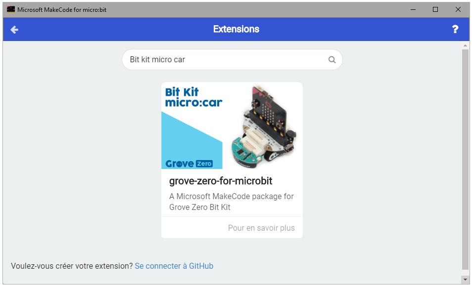Ajout de la bibliothèque Bit Kit pour MakeCode