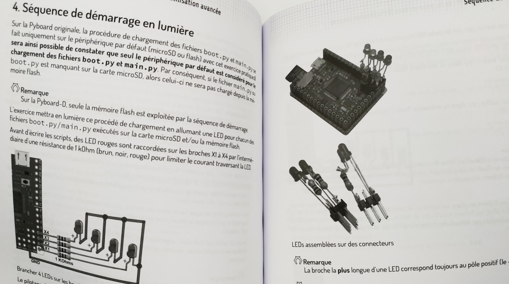 """Extrait du livre """"MicroPython et Pyboard"""" de Dominique Meurisse"""