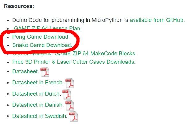 Téléchargement des jeux Pong et Snake