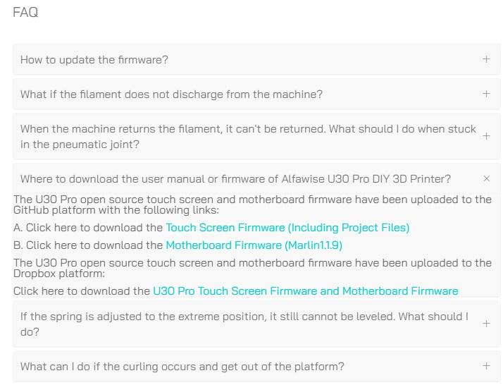 Téléchargement du firmware de l'Alfawise U30 Pro