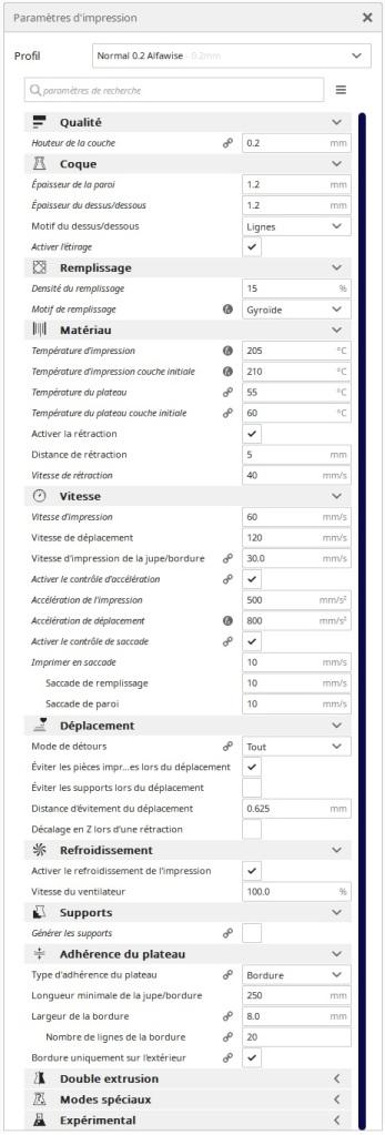 Paramètres CURA pour  l'Alfawise U30 Pro