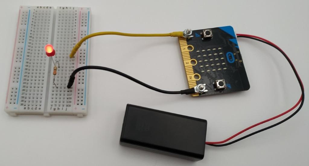 branchement d'une LED au micro:bit