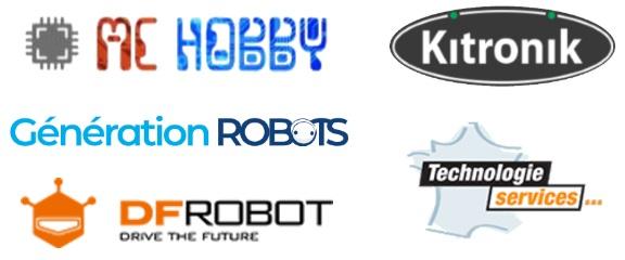 MChobby, Kitronik, Technologie Services, DF Robot, Génération Robots