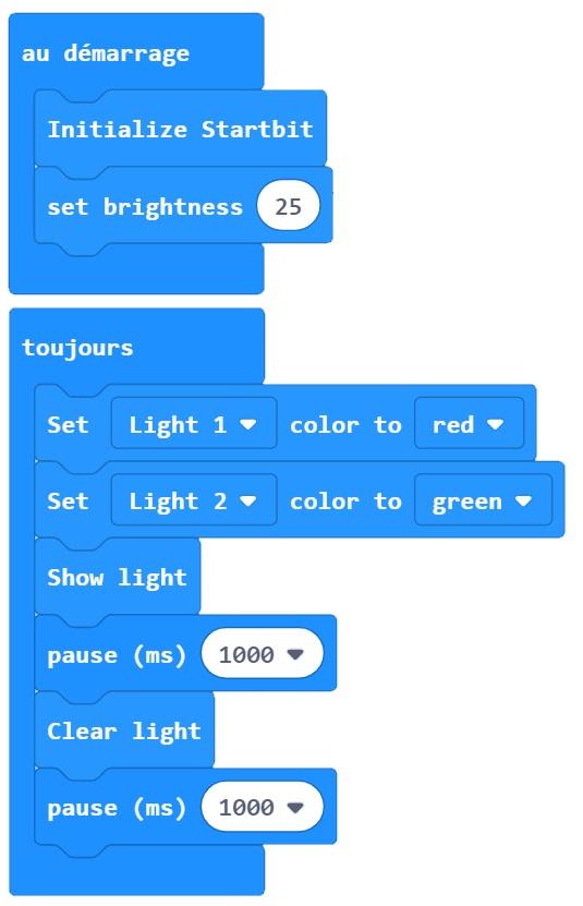 Programmation des LED Neopixel avec la bibliothèque Startbit