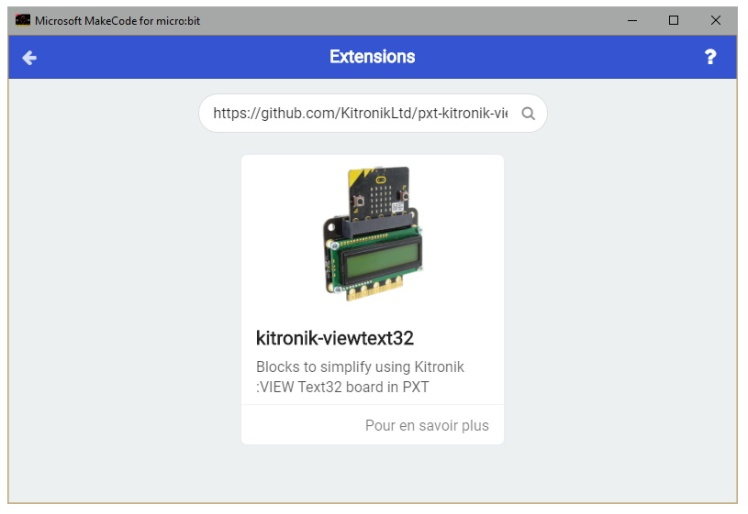 Installation de la bibliothèque kitronik-viewtext32