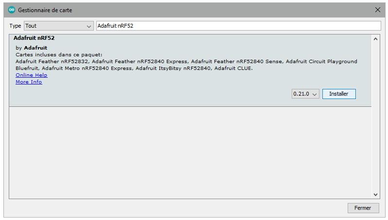 Ajout des cartes Adafruit nRF52 à l'IDE Arduino