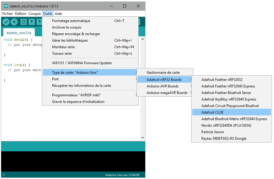 Sélection de la carte Adafruit CLUE dans l'IDE Arduino