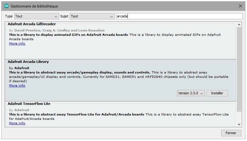 Ajout des bibliothèques Arcada et Sensor Lab dans l'IDE Arduino