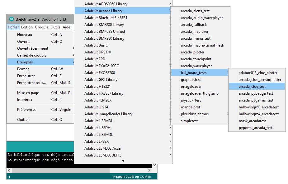 Chargement du programme de test de la carte Adafruit CLUE dans l'IDE Arduino