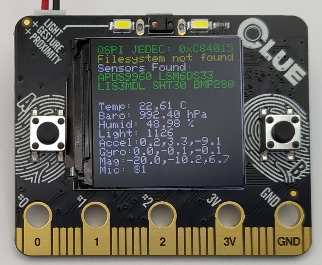 Programme de test de la carte Adafruit CLUE avec l'accéléromètre et le gyroscope fonctionnels