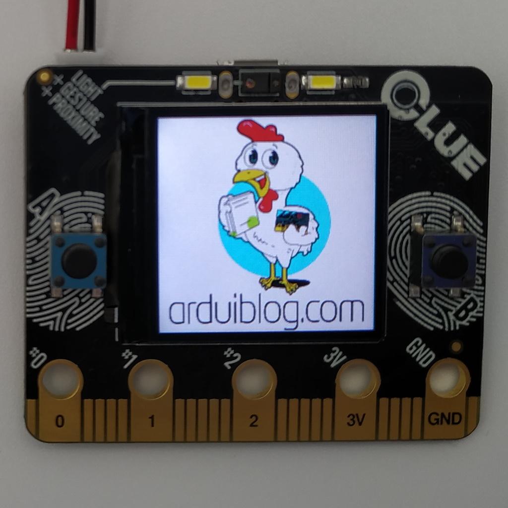 Affichage du fichier GIF Arduiblog sur la carte Adafruit CLUE