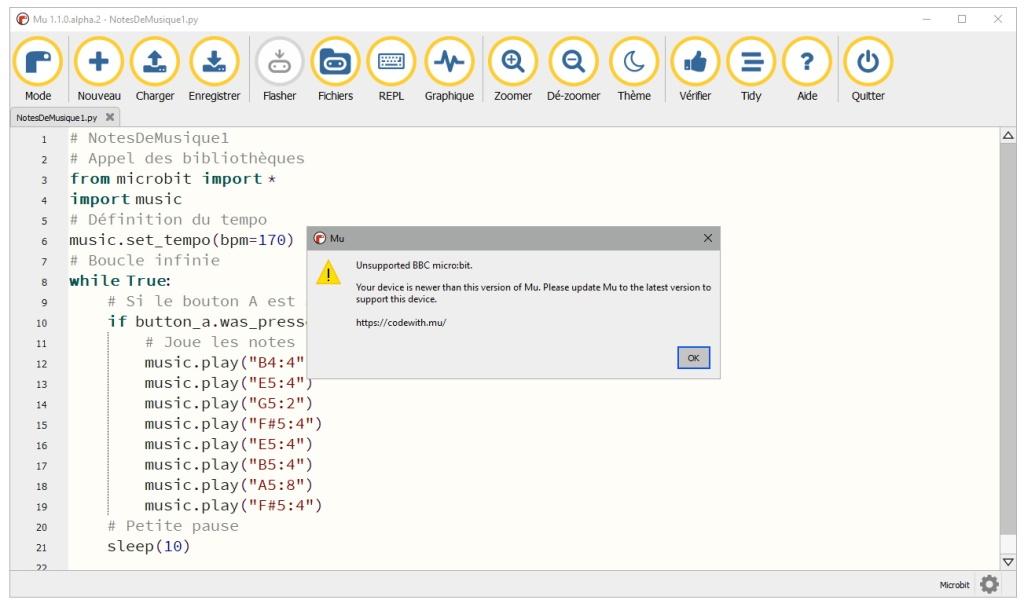 L'éditeur MicroPython Mu n'est pas compatible avec la version 2 du micro:bit