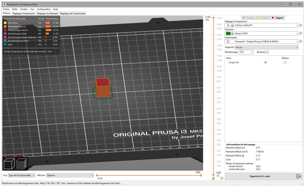 Cube de test avec PrusaSlicer