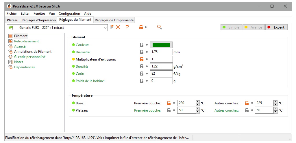 Paramètres d'impression pour TPU avec la Prusa MK3