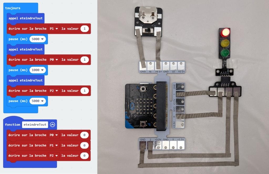 Feu tricolore avec le micro:bit et les modules MakeOn