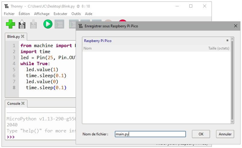 Enregistrement du fichier main.py sur le Raspberry Pi Pico