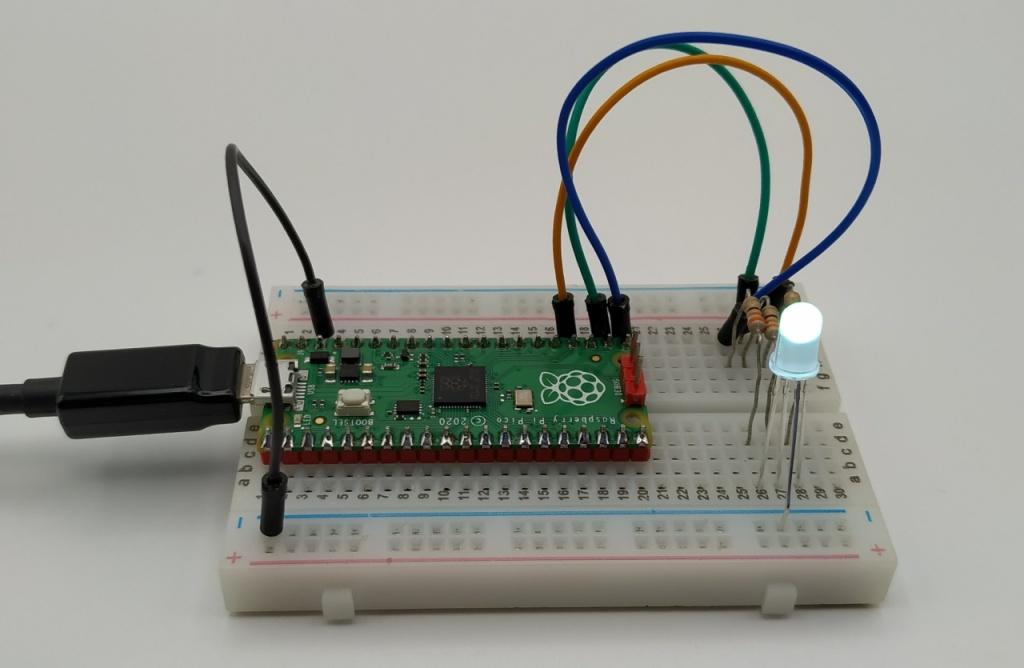 LED RGB reliée au Raspberry Pico
