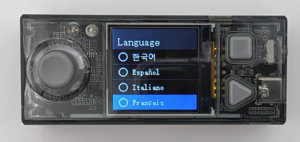 Sélection du langage sur la carte CyberPi
